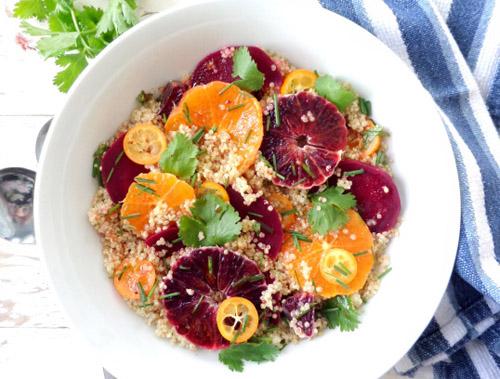 Ensalada de remolacha quinoa y naranja