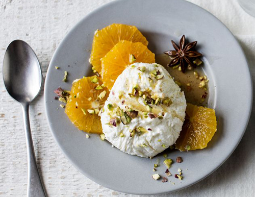 Naranjas con yogur y especias, mar de sabores